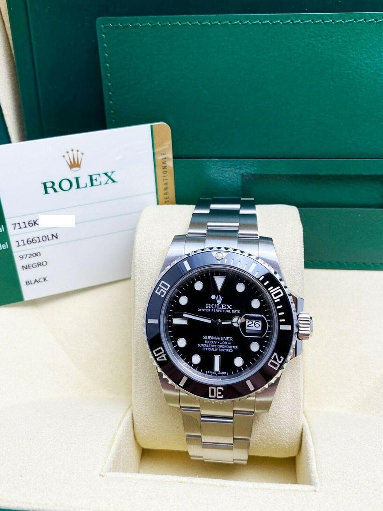 Rolex 116610 Submariner Black Ceramic Bezel Stainless Steel Box Papers, 2014 For Sale 4