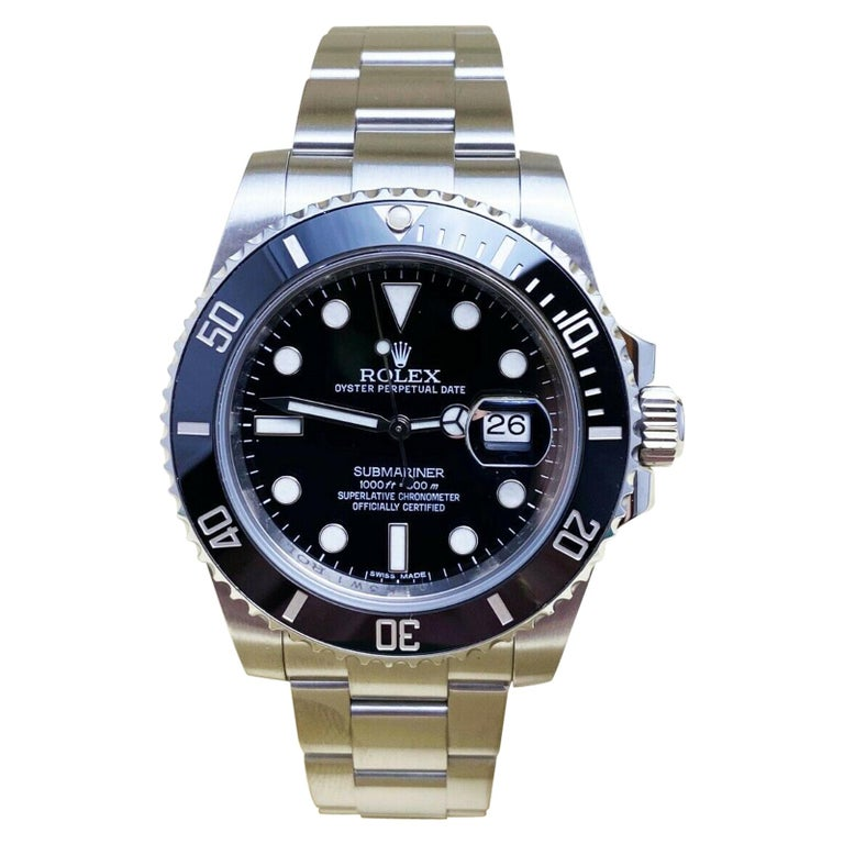 Rolex 116610 Submariner Black Ceramic Bezel Stainless Steel Box Papers, 2014 For Sale