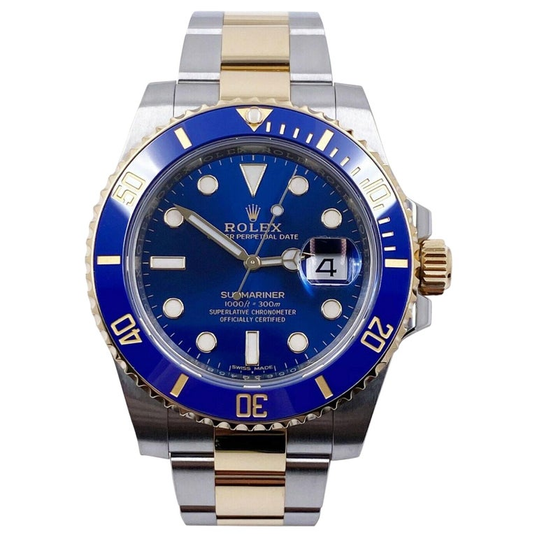 Rolex 116613 Submariner Blue 18 Karat Yellow Gold Stainless Box Papers, 2020 For Sale