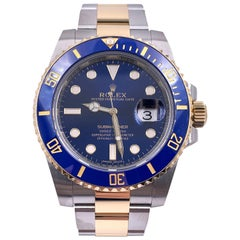 Rolex 116613 Submariner Two-Tone Blue Dial Bezel 18 Karat Stainless Box Papers