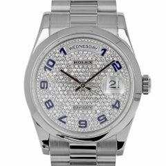 Rolex 118206 K Platinum Day-Date 36 Factory Pave Diamond Dial Blue Enamel Arabic