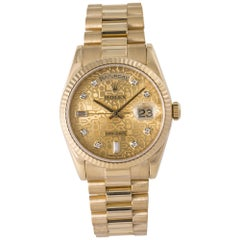 Rolex 118238 Day-Date President Factory Diamond Dial Box Papers 18k Y.Gold