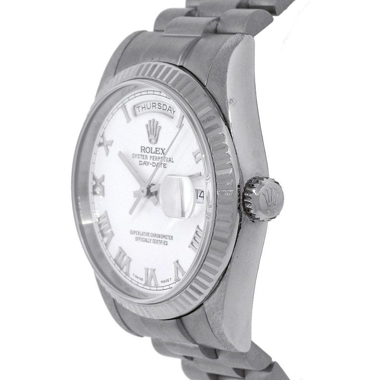 Rolex 118239 White Dial Day Date Presidential Automatic Wristwatch In Excellent Condition For Sale In Boca Raton, FL