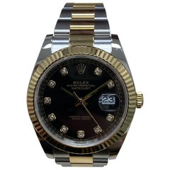 Rolex 126333 Datejust 41 Black Diamond Dial 18 Karat Gold Stainless Steel Mint