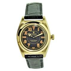 Rolex 14 Karat Gold Art Deco Bubble Back Wristwatch with Legendary Romabic Dial