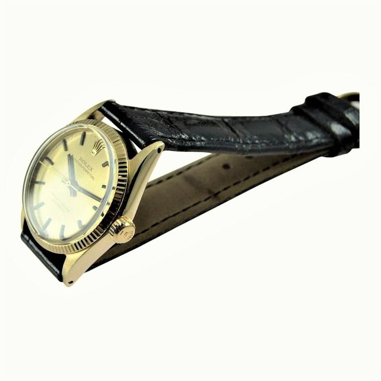 Rolex 14 Karat Solid Yellow Gold Midsize Oyster Perpetual from 1965 or 1966 For Sale 1