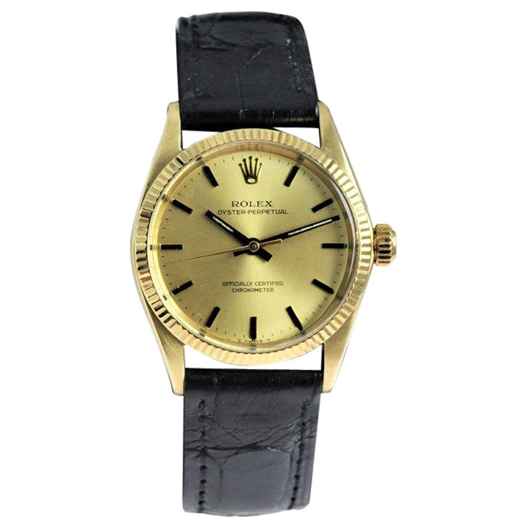 Rolex 14 Karat Solid Yellow Gold Midsize Oyster Perpetual from 1965 or 1966 For Sale