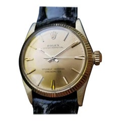 ROLEX 14K Solid Gold Oyster Perpetual 6551 Midsize Unisex Automatic c.1966 MS137