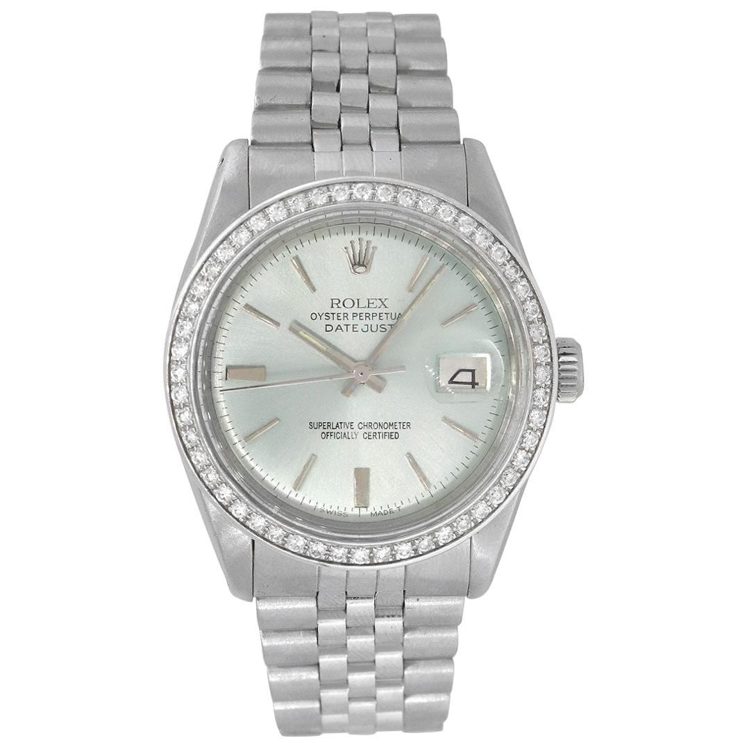 Rolex 1601 Datejust Teal Dial and Diamond Bezel Watch