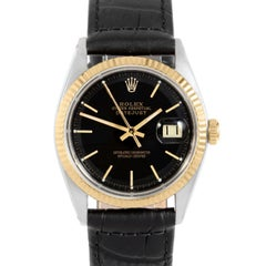Rolex 1601 Men's Datejust, Black Stick, Fluted Bezel and Black Leather
