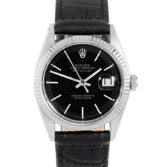 Rolex 1601 Men's Datejust, Black Stick, Fluted Bezel and Black Leather