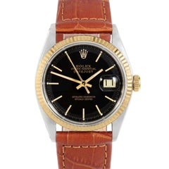 Rolex 1601 Men's Datejust, Black Stick, Fluted Bezel and Brown Leather