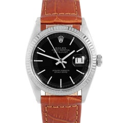 Rolex 1601 Men's Datejust, Black Stick, Fluted Bezel, Brown Leather