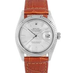Rolex 1601 Men's Datejust, Silver Stick Dial, Fluted Bezel, Brown Leather