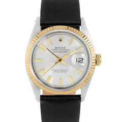 Rolex 1601 Men's Datejust, Silver Stick, Fluted Bezel and Brown Leather