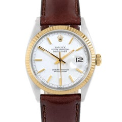 Rolex 1601 Men's Datejust, White Stick, Fluted Bezel and Brown Leather