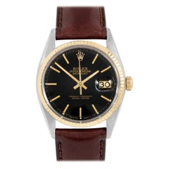 Rolex 16013 Men's Datejust, Black Stick, Fluted Bezel and Brown Leather