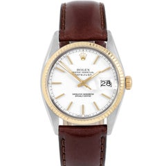 Rolex 16013 Men's Datejust, White Stick, Fluted Bezel and Brown Leather