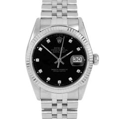 Rolex 16014 Men's Datejust, Black Diamond, Fluted Bezel and Jubilee Band