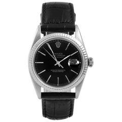 Rolex 16014 Men's Datejust, Black Stick, Fluted Bezel and Black Leather