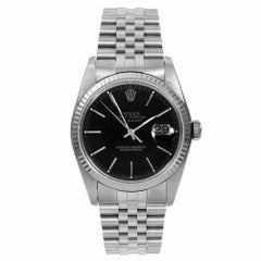 Rolex 16014 Men's Datejust, Black Stick, Fluted Bezel and Jubilee Band