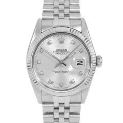 Rolex 16014 Herren Datejust, Silber Diamant, Geriffelte Lünette und Jubilee-Band
