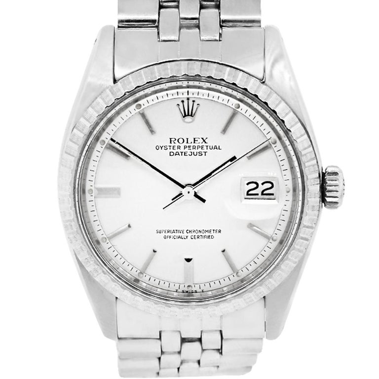 Rolex 1603 Datejust Silver Pie Pan Stick Dial Wristwatch