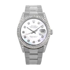 Rolex 16200 Datejust Mother of Pearl Diamond Dial Watch