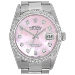 Rolex 16220 Datejust Pink Mother of Pearl Dial Watch