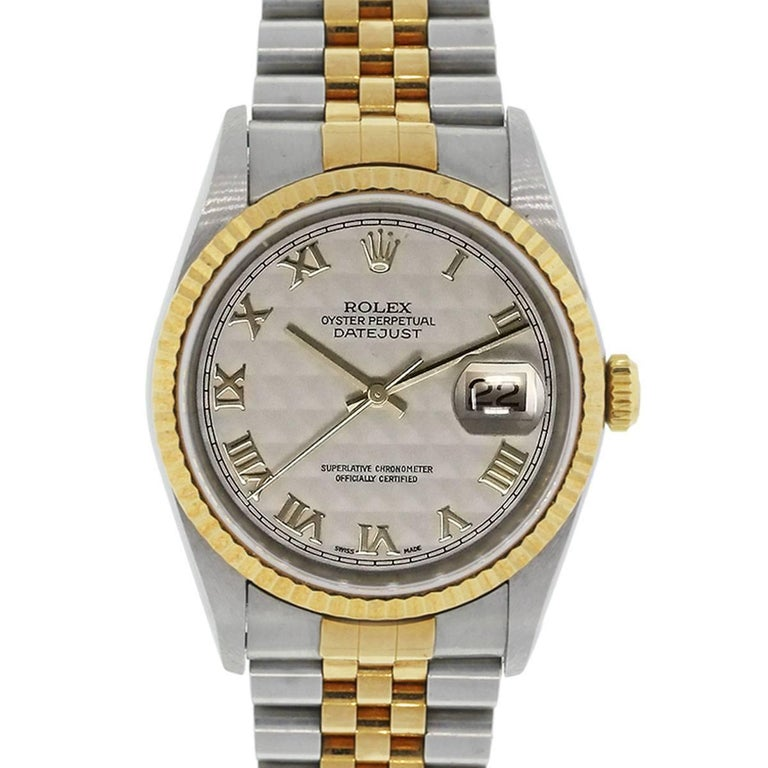 Rolex yellow gold Stainless steel Datejust Pyramid Dial Automatic Wristwatch