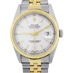 Rolex 16233 Datejust Two-Tone White Dial Watch