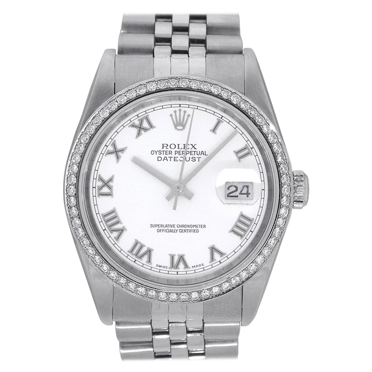 Rolex 16234 Datejust Stainless Steel White Roman Dial Watch