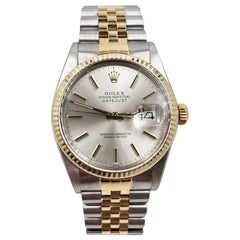 Rolex 16253 Datejust Silver Dial 18 Karat Yellow Gold Stainless Steel with Box