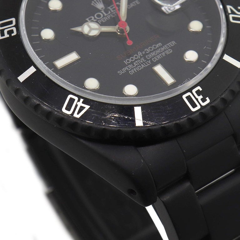 Rolex 16610 PVD All Black Submariner Watch In Fair Condition For Sale In Boca Raton, FL