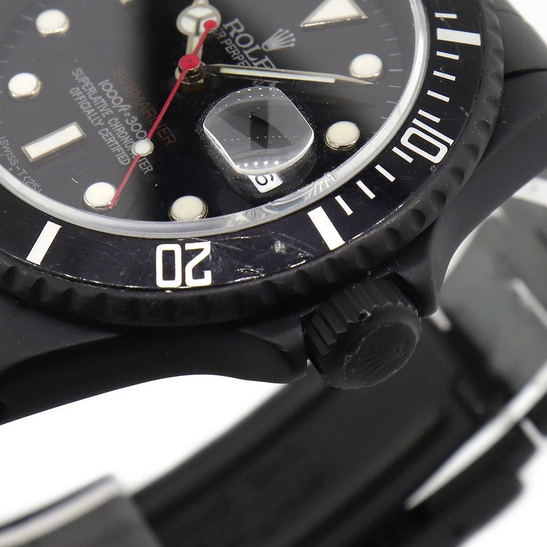 Women's or Men's Rolex 16610 PVD All Black Submariner Watch For Sale