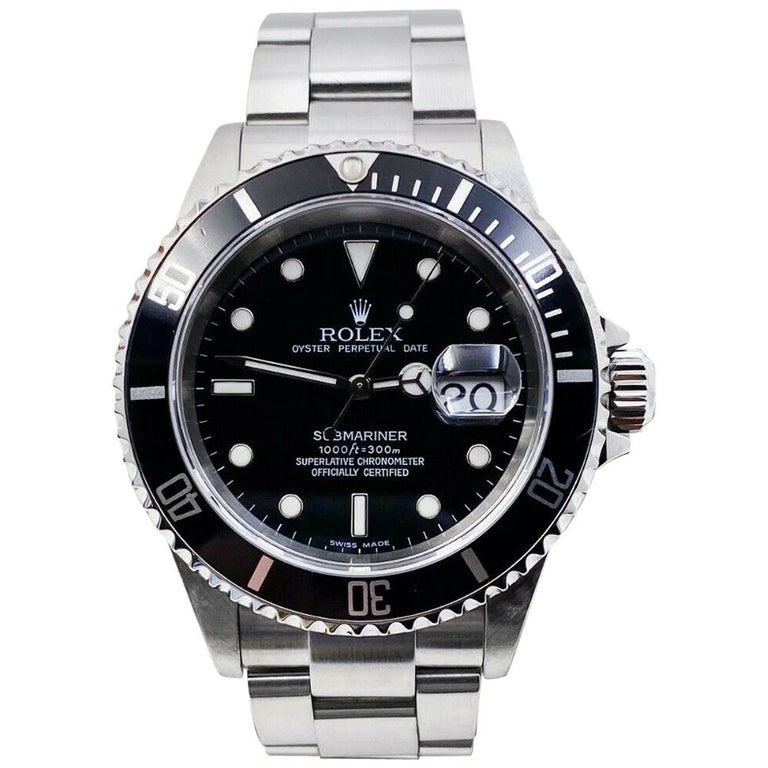 Rolex 16610 Submariner Black Dial Stainless Steel 2005 For Sale