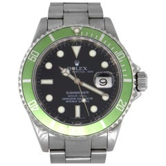 "Rolex 16610 Submariner Kermit Black Dial Green ""Ghost"" Bezel Watch"