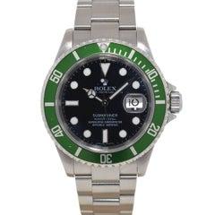 Rolex Stainless Steel Kermit Submariner Automatic Wristwatch Ref 16610LV