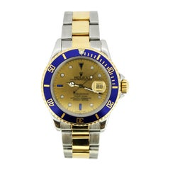 Rolex 16613 Submariner Men Gold SS Tropical Diamond Sapphire Serti Dial