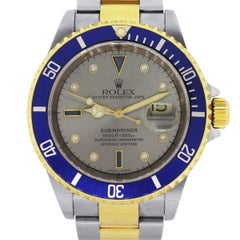 Rolex Two Tone Submariner Serti Dial Automatic Wristwatch