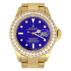 Rolex 16618 Submariner Diamond Bezel Blue Dial Watch