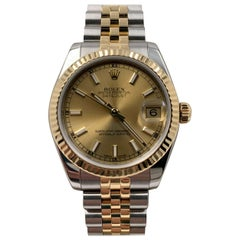 Rolex 178273 Midsize Datejust 18 Karat Gold Stainless Steel Box Papers 2017