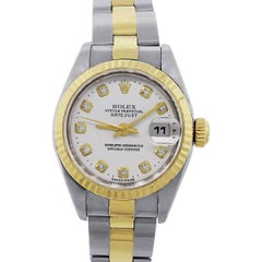 Rolex Ladies Stainless Steel White Diamond Dial Automatic Wristwatch Ref 179173