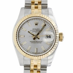 Rolex 179173 Z Silver Stick Datejust Papers Steel 18KT Yellow GOLD Swiss Ladies