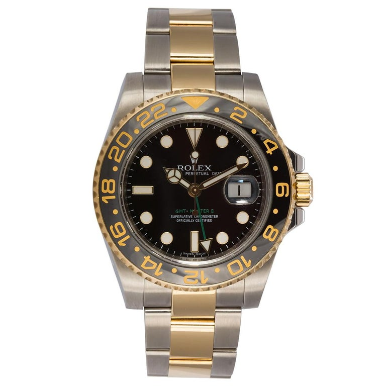 Rolex 18 Karat Gold and Stainless Steel Ceramic GMT Master II 116710 For Sale