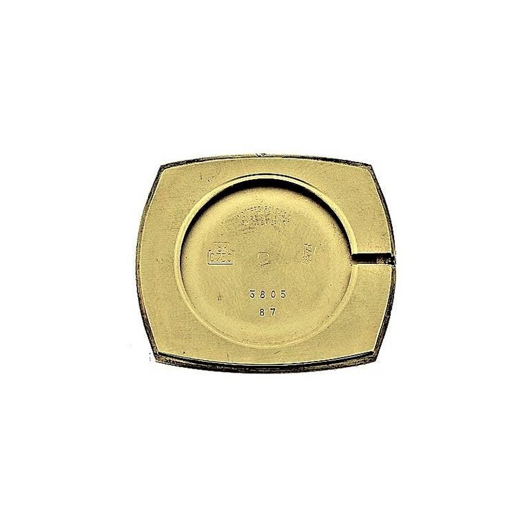 Rolex 18 Karat Gold Cellini Cushion Shaped Watch, circa 1980s For Sale 3