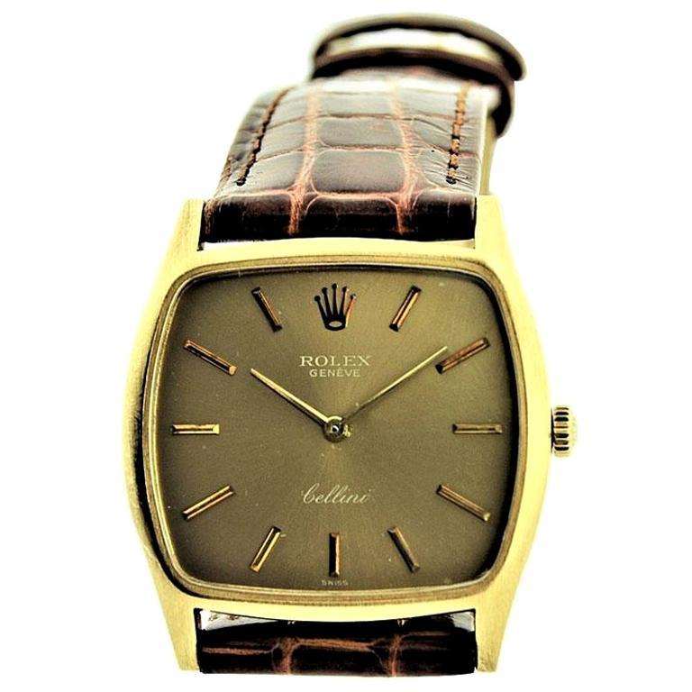 Rolex 18 Karat Gold Cellini Cushion Shaped Watch, circa 1980s For Sale