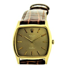 Rolex 18 Karat Gold Cellini Cushion Shaped Watch, circa 1980s