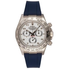 Rolex 18 Karat Gold Daytona Chronograph 116519 White Dial New Rubber B Strap