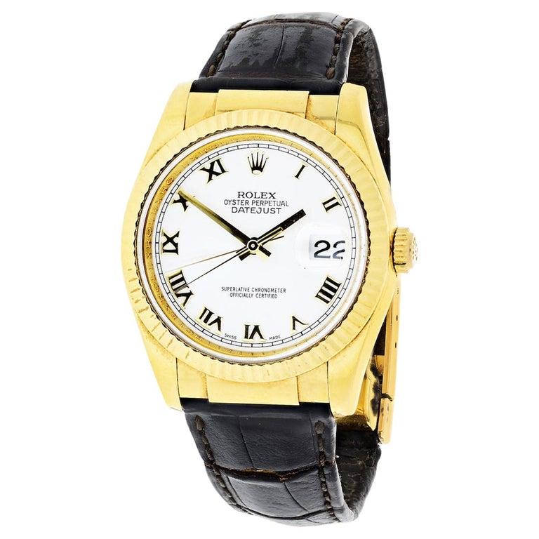 Rolex 18 Karat Gold Roman Datejust 116138 Watch For Sale